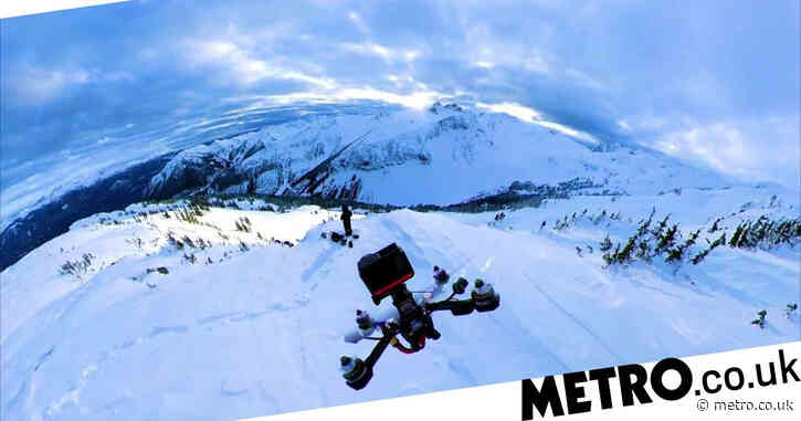 Amazing footage caught by drone hurtling through snowy mountains