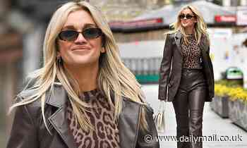 Ashley Roberts looks chic in a brown leather co-ord and leopard print top as she leaves Heart FM