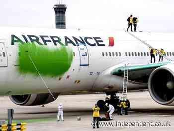 Greenpeace activists break onto runway and spray paint plane green