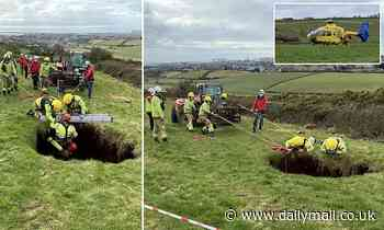 Farmer is rescued after falling into a 60ft deep SINKHOLE