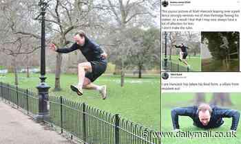 Health Secretary Matt Hancock hops over a fence at London park
