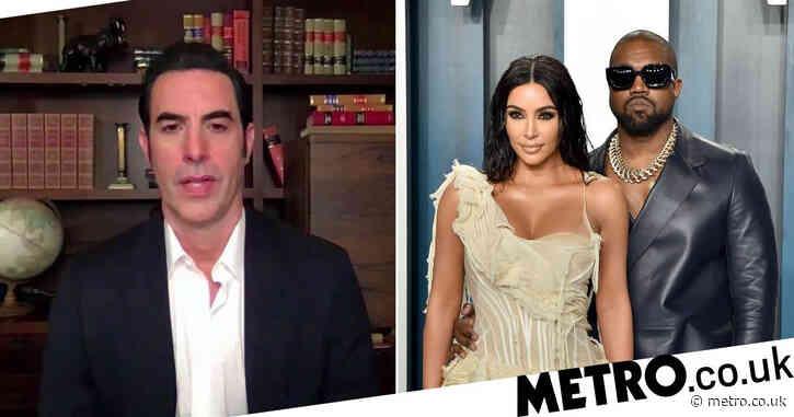 Sacha Baron Cohen mocks Kanye West and Kim Kardashian's divorce on Jimmy Kimmel