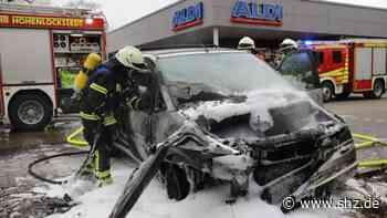 Brand in Hohenlockstedt: Auto geht vor Aldi in Flammen auf   shz.de - shz.de