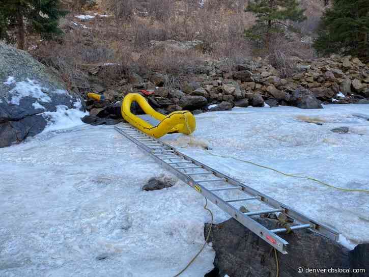 Crews Use Ladder Across Partially-Frozen Clear Creek In High-Angle Rescue