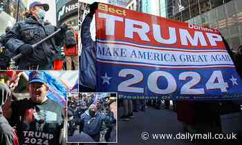 Trump supporters clash ANTIFA at Trump Tower  after MAGA fans unfurl a huge flag of Pelosi as demon