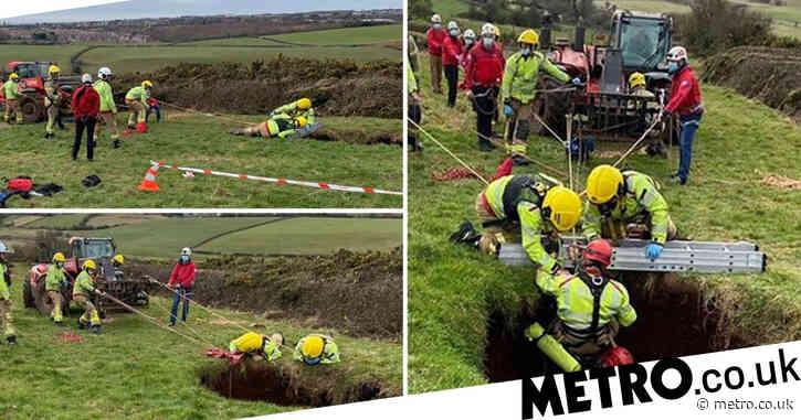 Farmer on quad bike 'swallowed up' by 60ft sinkhole