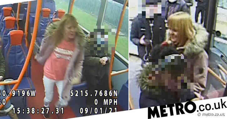 Hunt for woman who spat at bus passenger in row over mask
