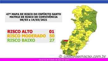 Somente o município de Ibatiba está classificado em Risco Alto - Colatina em Ação