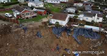Shocking drone images show how close village is to disappearing into the sea