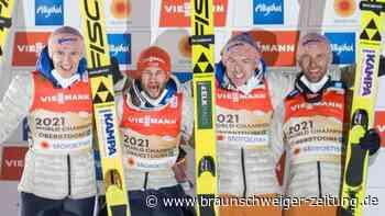 """Mannschaftswettbewerb: """"Ein Traum"""": Deutsche Skispringer triumphieren mit WM-Gold"""