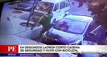 San borja: ladrón corta cadena de seguridad y se roba bicicleta en unos segundos - El Comercio Perú