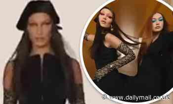 Bella Hadid shows off her trim figure in a crop top as she reunites with sister Gigi for Versace