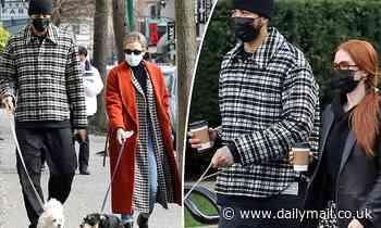 Madelaine Petsch and Miles Chamley-Watson bump into Riverdale co-star LiliReinhart on dog walk