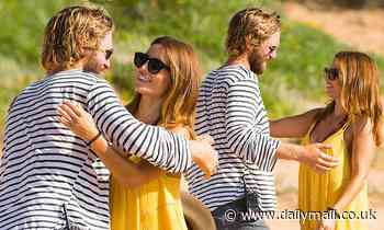 George Mason is embraced by Ada Nicodemou on the set of Home and Away