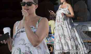 Jesinta Franklin shows off her baby bump in chic boho maternity dress