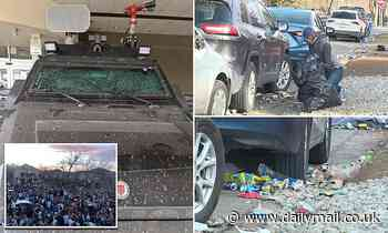 New photos armored cop SMASHED and destruction after University of Colorado in Boulder party