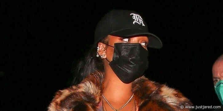 Rihanna Rocks Bold Leopard Coat For Dinner Out in Santa Monica