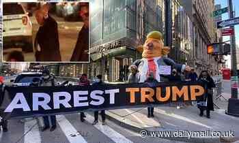 Protests outside Trump Tower call for Donald's arrest as he returns to New York