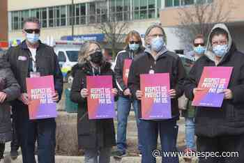'Pay Us': Hamilton health care staff rally for pandemic pay to continue - TheSpec.com