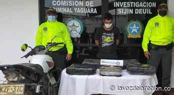 Capturado sujeto transportando marihuana en cercanías a Yaguará - Huila