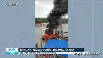 Lancha de passeio pega fogo em porto de Barcarena, no PA - G1