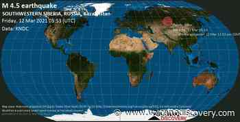 Quake info: Moderate mag. 4.5 earthquake - 55 km southeast of Barnaul, Altay Kray, Russia, on Friday, 12 Mar 2021 12:53 pm (GMT +7) - VolcanoDiscovery