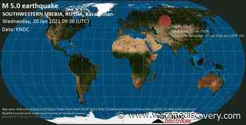 Quake info: Strong mag. 5.0 earthquake - 20 km south of Odesskoye, Omsk Oblast, Russia, on Wednesday, 20 Jan 2021 3:36 pm (GMT +6) - VolcanoDiscovery