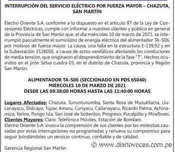 Electro Oriente Comunicado: Interrupción del Servicio Eléctrico por Fuerza Mayor – Chazuta, San Martín - Diario Voces