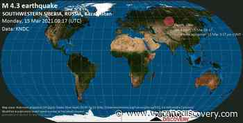 Quake info: Moderate mag. 4.3 earthquake - 29 km southwest of Barnaul, Altay Kray, Russia, on Monday, 15 Mar 2021 3:17 pm (GMT +7) - VolcanoDiscovery