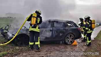 PKW nach Unfall auf der K31 bei Essenheim komplett ausgebrannt - Boost your City