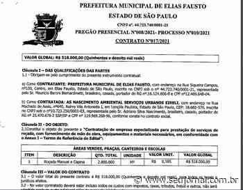 Prefeito de Elias Fausto contrata empresa de capinação por mais de meio milhão de reais - SeuJornal
