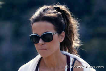 Kate Beckinsale's Personality Shines Through in the Wildest Pajamas & Ultra Chunky Sneakers on Set - Footwear News