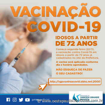 Prefeitura de Vargem Grande Paulista inicia vacinação de idosos a partir de 72 anos nesta segunda-feira - Portal Oeste Paulista