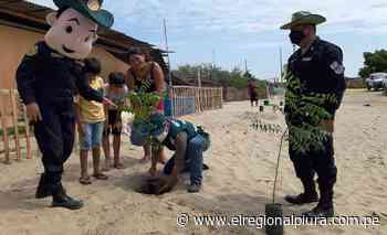 Policía y SERFOR apoyan en arborizar calles de caserío de Catacaos - El Regional
