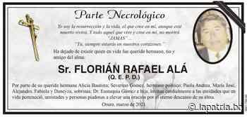Parte Necrológico: Sr. FLORIÁN RAFAEL ALÁ (QEPD) - Periódico La Patria (Oruro - Bolivia)