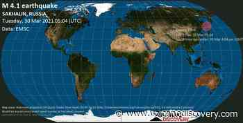 Quake info: Moderate mag. 4.1 earthquake - 32 km southeast of Nevel'sk, Sakhalin Oblast, Russia, on Tuesday, 30 Mar 2021 4:04 pm (GMT +11) - VolcanoDiscovery