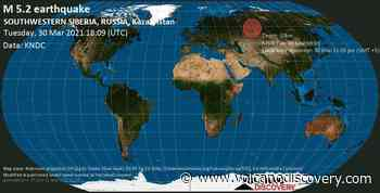 Quake info: Strong mag. 5.2 earthquake - 89 km north of Tevriz, Omsk Oblast, Russia, on Tuesday, 30 Mar 2021 11:09 pm (GMT +5) - 1 user experience report - VolcanoDiscovery