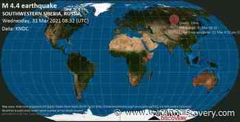 Quake info: Moderate mag. 4.4 earthquake - 18 km east of Tayshet, Irkutsk Oblast, Russia, on Wednesday, 31 Mar 2021 4:32 pm (GMT +8) - VolcanoDiscovery