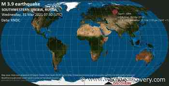 Quake info: Moderate mag. 3.9 earthquake - 28 km northwest of Kargasok, Tomsk Oblast, Russia, on Wednesday, 31 Mar 2021 2:30 pm (GMT +7) - VolcanoDiscovery
