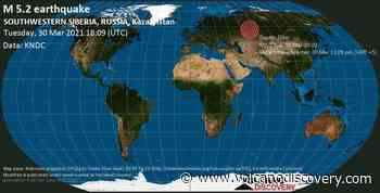 Quake info: Strong mag. 5.2 earthquake - 72 km northwest of Ishim, Tyumen' Oblast, Russia, on Tuesday, 30 Mar 2021 11:09 pm (GMT +5) - 1 user experience report - VolcanoDiscovery