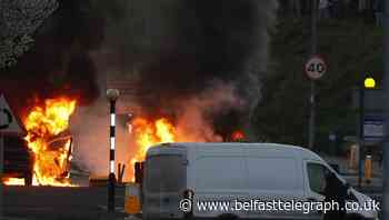 Hijacked cars set on fire and police attacked in Newtownabbey rioting