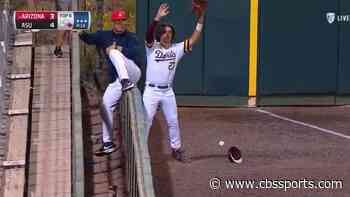 LOOK: Arizona State outfielder gets stuck on outfield fence, allows inside-the-park home run to Arizona