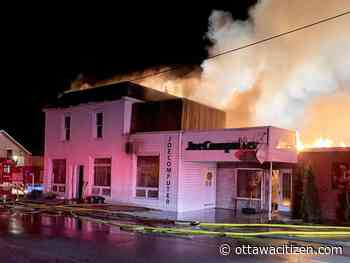 Spencerville fire destroys shops, leaves nine homeless