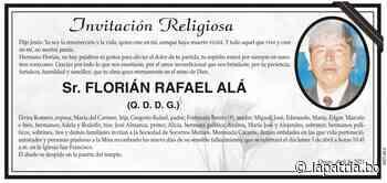 Invitación Religiosa: Sr. FLORIÁN RAFAEL ALÁ (QDDG) - Periódico La Patria (Oruro - Bolivia)