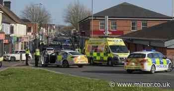Two week old baby killed after BMW smashes into another car and hits pram