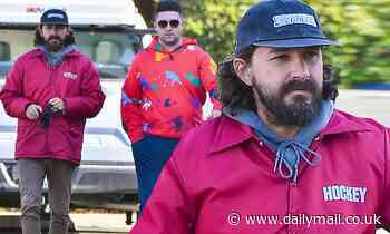 Shia LaBeouf sports shaggy hair and beard while stepping out for breakfast with pal - Daily Mail
