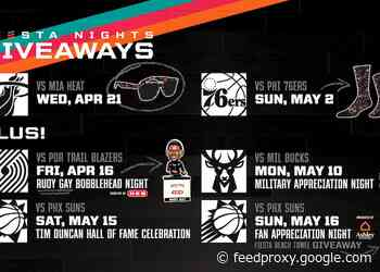 SAN ANTONIO SPURS ANNOUNCE PROMOTIONAL GIVEAWAY SCHEDULE FOR APRIL AND MAY