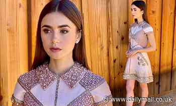 SAG Awards 2021: Lily Collins is a vision in a jewel-encrusted pink mini-dress - Daily Mail
