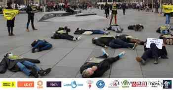 Guerre au Yémen / Ventes d'armes de la France : un die-in à Paris pour dénoncer la complicité silencieuse de la France dans la pire crise humanitaire au monde - Amnesty International France