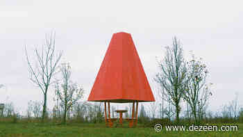 Red steel helps distinguish tiny chess pavilion within French parkland - Dezeen